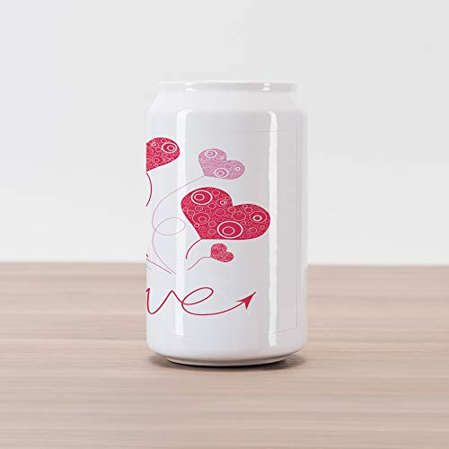 - Ambesonne Love Cola Can Shape Piggy Bank, Love Heart Shaped Balloons Party Entertainment Happiness Theme Retro Print, Ceramic Cola Shaped Coin Box Money Bank for Cash Saving, Magenta Rose White