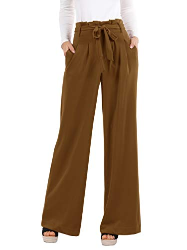 (Geckatte Womens Palazzo Wide Leg Pants High Waist Casual Loose Flowy Pants with Belt)