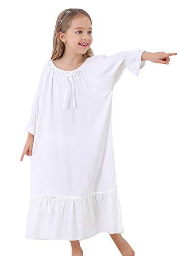 PUFSUNJJ Little Girls Princess Nightgowns Summer Short Sleeve Nightdress Toddler 3-10 Years -