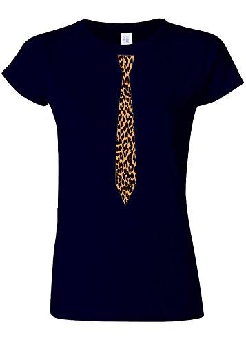 活気づく大砲カフェLeopard Tie Suit Funny Novelty Navy Women T Shirt Top-XL