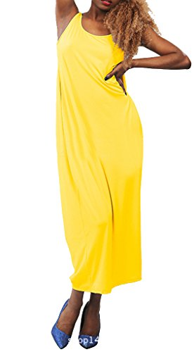 Neck Casual Dress Maxi Backless Women Scoop Clubwear Yellow Sleeveless Blansdi Loose 6Rat1wqPx
