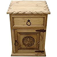 Mansion Rustic Nightstand with Star and Rope Honey Finish (Right) Hinged)