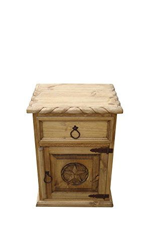 RUSTIC FOR LESS Mansion Rustic Nightstand with Star and Rope Honey Finish (Right) Hinged) For Sale