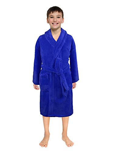 Ultra-Soft Plush Shawl Robes for Boys and Girls (Royal Blue, Large) -
