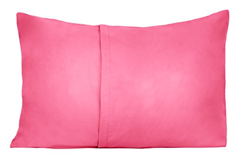 3 Toddler Pillowcases - 2 Hot Pink and 1 White - Envelope Style - For Pillows Sized 13x18 - 100% Cotton With Soft Sateen Weave - Machine Washable - ZadisonJaxx Bellacolour Collection - 3 Pack by Zadisonjaxx (Image #2)