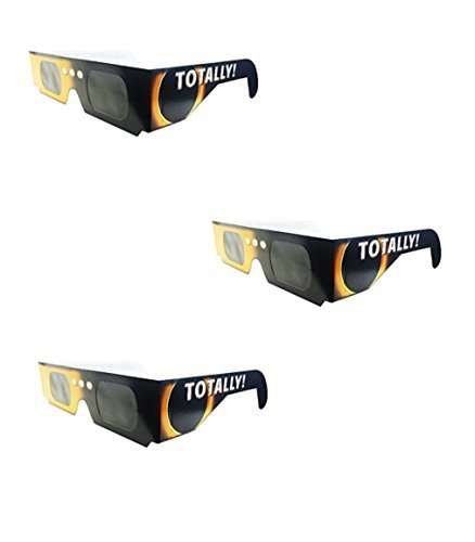 Set of 3 Solar Eclipse Glasses, ISO 12312-2 compliant and CE certified Eclipse Glasses for Direct Sun Viewing (totally)