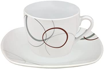 Set of 2 Black 'Kyoto' Espresso Cups and Saucers