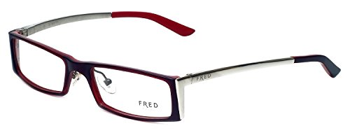 Fred Eyeglasses Frames - Fred Lunettes Designer Eyeglasses St. Moritz-C1-001 in Red 52mm DEMO LENS