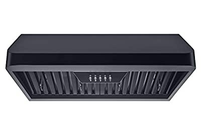Winflo 30 in. 300 CFM Ducted Under Cabinet Range Hood in Black with Baffle Filters, Grease Collector, LED lights and 3 Speed Push Buttons