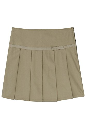 French Toast Little Girls' Pleated Scooter with Grosgrain Ribbon, Khaki, 4 by French Toast