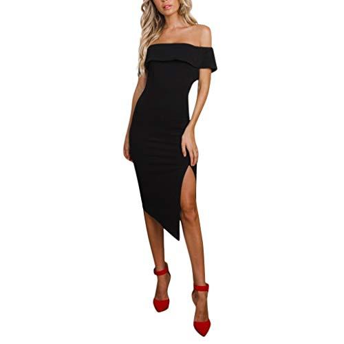 JESPER Women Summer Casual Off Shoulder Party Business Dress Split Side Clutches Sundress Black