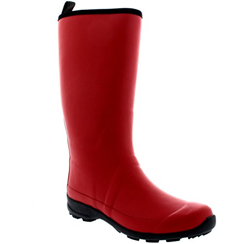 Polar Products Damen Kontrast Sohle Hohe Gummi Muck Winter Schnee Outdoor Gummistiefel Stiefel Dunkelrot