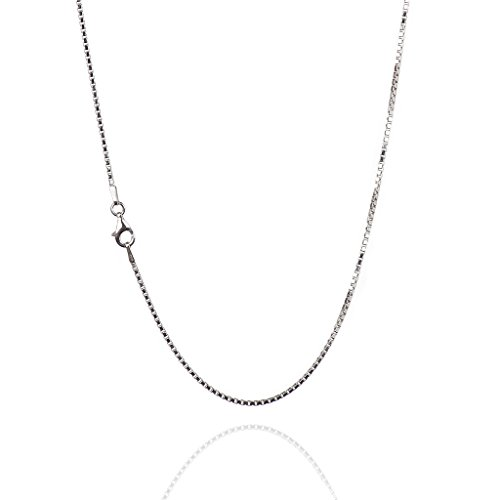 925 Sterling Silver 1.50 mm Diamond-Cut Box Chain Necklace with Pear Shape Clasp-Rhodium ()