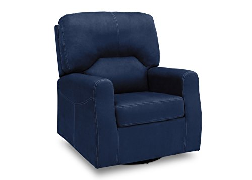 Delta Furniture Marshall Upholstered Glider Swivel Rocker Chair, Navy by Delta Children
