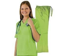 Women's Scrub Set - Medical Scrub Top and Pant, Lime, X-Small