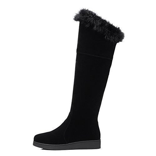 BalaMasa Womens Solid Low-Heels Zipper Flatform Fringe Suede Boots ABL09857 Black TTHzRqdjHZ
