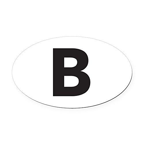CafePress - Letter B Black Oval Car Magnet - Oval Car Magnet, Euro Oval Magnetic Bumper Sticker