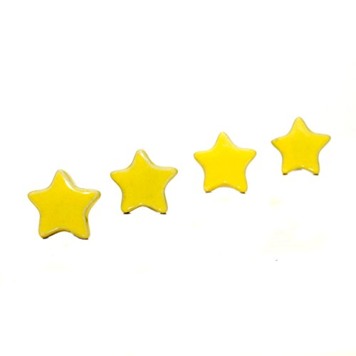 Lovely Yellow STAR Shaped CERAMIC Door Knobs / Drawer Pulls from INDIA. SET of 4.