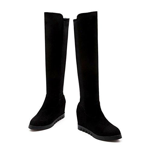 Bottom Platform Boots Skidding Inside Girls Blend Materials Anti Black Heighten AdeeSu YTagAwBqO