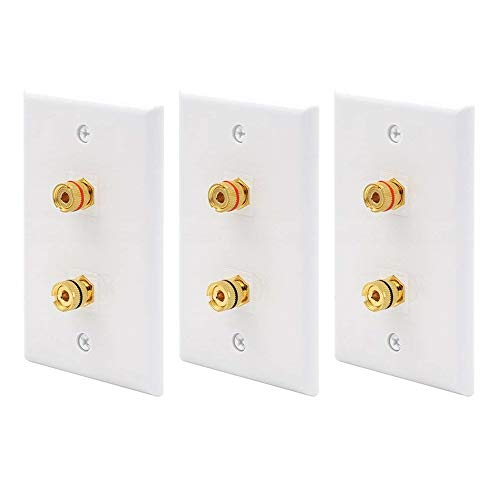 (VCE 3-Pack Premium 2 Connector Banana Wall Plate,Banana Plug Binding Post Wall Plate for Speakers)