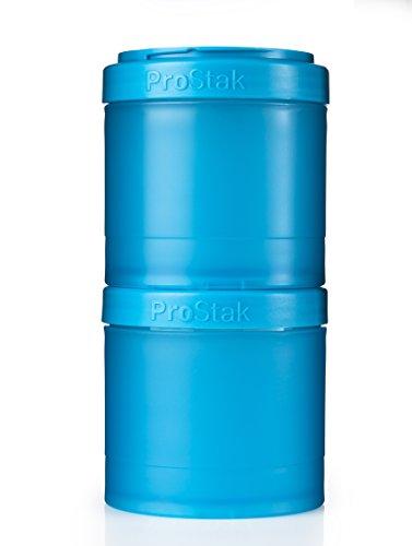 BlenderBottle ProStak Twist n Lock Storage Jars Expansion 2-Pak with Pill Tray, Aqua