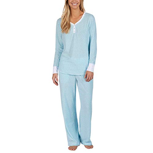 Fleece Lounge Set - Nautica Women's 2 Piece Fleece Pajama Sleepwear Set (Light Blue Dots, Medium)