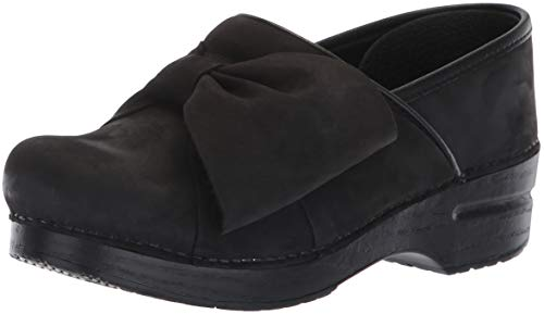 Clog Bow (Dansko Women's Pro Bow Clog, Black Milled Nubuck, 41 M EU (10.5-11 US))