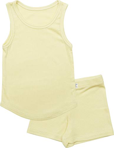 AVAUMA ICE Plain Sleeveless Newborn Baby Little Boy Girl Pajamas Summer Sets Pjs Kids Clothes (XS/Yellow)