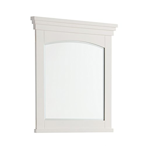 "Simpli Home Elise 30"" x 34"" Large Bath Vanity Décor Mirror, Soft White"