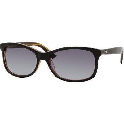 Emporio Armani 9821/S Women's Oval Modified Full Rim Lifestyle Sunglasses - Black Demi/Gray Green Gradient/Size ()