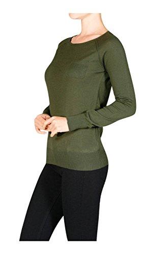 2LUV Women's Long Raglan Sleeve Knit Sweater Olive1 L