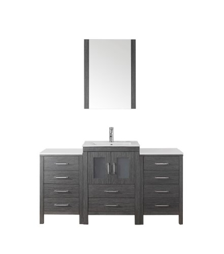 Virtu USA Dior 60 inch Single Sink Bathroom Vanity Set in Zebra Grey w/ Integrated Square Sink, Slim White Ceramic Countertop, Single Hole Polished Chrome, 1 Mirror - KS-70060-C-ZG - Bathroom Renovation - Featuring a contemporary shaker design, the Talisa offers simplicity while still providing an abundant amount of storage for your bathroom. Functional & Versatile - This bathroom vanity provides an abundance of storage with 2 functional doors and 10 functional drawers which are all installed on soft-closing hinges, creating an elegant bathroom experience. Easy Installation - Our factory assembled freestanding base cabinet is fully assembled for easy installation. - bathroom-vanities, bathroom-fixtures-hardware, bathroom - 31J2M6CrqTL -