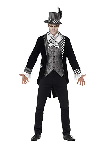 Smiffys Dark Mad Hatter Deluxe Adult Costume Black/White ()