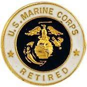 USMC, United States Marine Corps Retired - Original Artwork, Expertly Designed, PIN - 0.625
