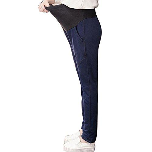 scuro Women Pantaloni morbido L Maternity Yoga cotone Sport Leg Straight Gravidanza Dingcaiyi indossare blu 7AIvqRqd