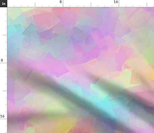 Pastel Abstract Fabric - Opalescent Cubism Modern Nursery Rainbow Baby Girl Fashion Summer Geometric Print on Fabric by the Yard - Basketweave Cotton Canvas for Upholstery Home Decor Bottomweight