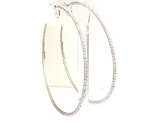 Clip-on Earrings Silver Tone Rhinestone Hoop Earrings 4 Inch Crystal Hoop (Silver Tone Rhinestone Crystal)