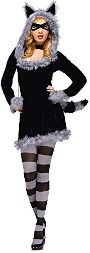 Fun World Women's Racy Raccoon Costume Adult Costume, -Multi, Small/Medium