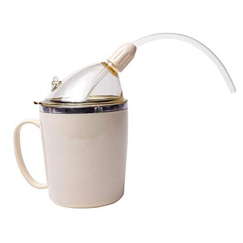 (1 unidad) 350 ml taza de beber ligera con pajita, tazas de alimentación convalescente para bebidas de agua sopa, acero…