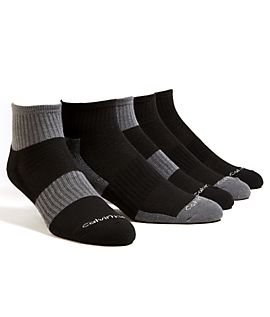 Calvin Klein Athletic Cushion Socks 5 Pair Quarter Cut (Charcoal Grey/Black)