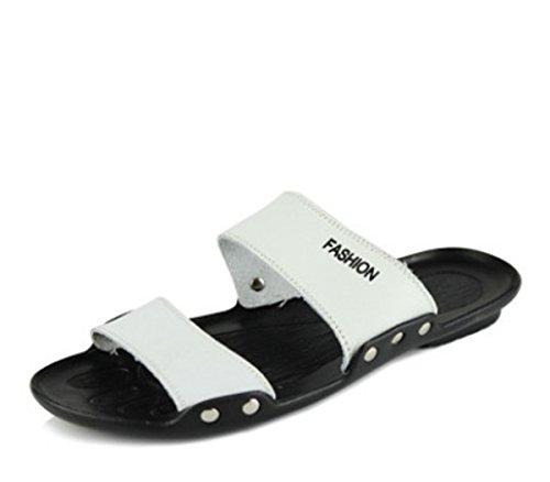 Bininbox Mens Pantoufles Sandale Plate Été Chaussure Respirante À Bout Ouvert Blanc