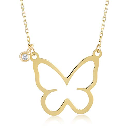 (14k Yellow Gold 0,01 ct Diamond Butterfly Pendant Necklace for Women, A Perfect Surprise Gift for Her, 18 inch)
