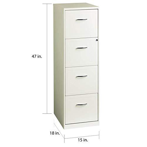 Scranton & Co 18'' Deep 4 Drawer Vertical File Cabinet in Pearl White