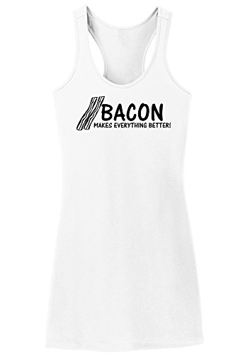 Womens Bacon Dress (Comical Shirt Ladies Bacon Makes Everything Better Funny Bacon Lover White M)