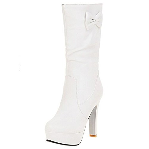 COOLCEPT Mujer Moda Mid Calf Slouch Botas de Alto With Bowknot White