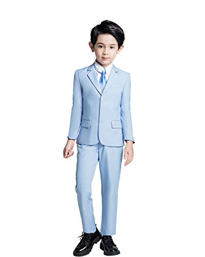 YuanLu Boys Suits 5 Piece Kids Formal Tuxedo for Boys Blazer Vest Pants Shirt and Tie Blue Size 7 (Tuxedo Five Piece Set)