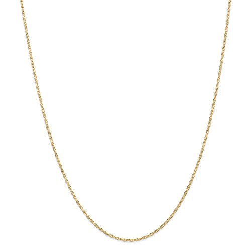 14k Yellow Gold 1.35mm Carded Cable Rope Chain Necklace 16inch