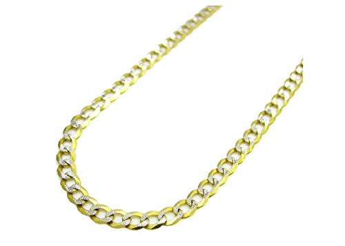 14K Solid Yellow Gold 3.8mm Two Tone Cuban Curb Diamond Cut Pave Chain Necklace -Lobster Claw Clasp (18.0)