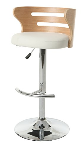 Impacterra Pastel Furniture Oakland Swivel Stool with Arms, Chrome/Oak Veneer ()