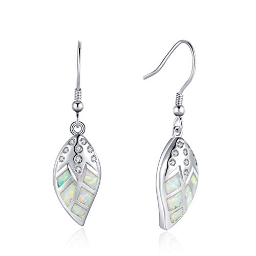 Fancime White Gold Plated 925 Sterling Silver CZ Cubic Zirconia Leaf White Created Opal Dangle Drop Earrings For Women Girls